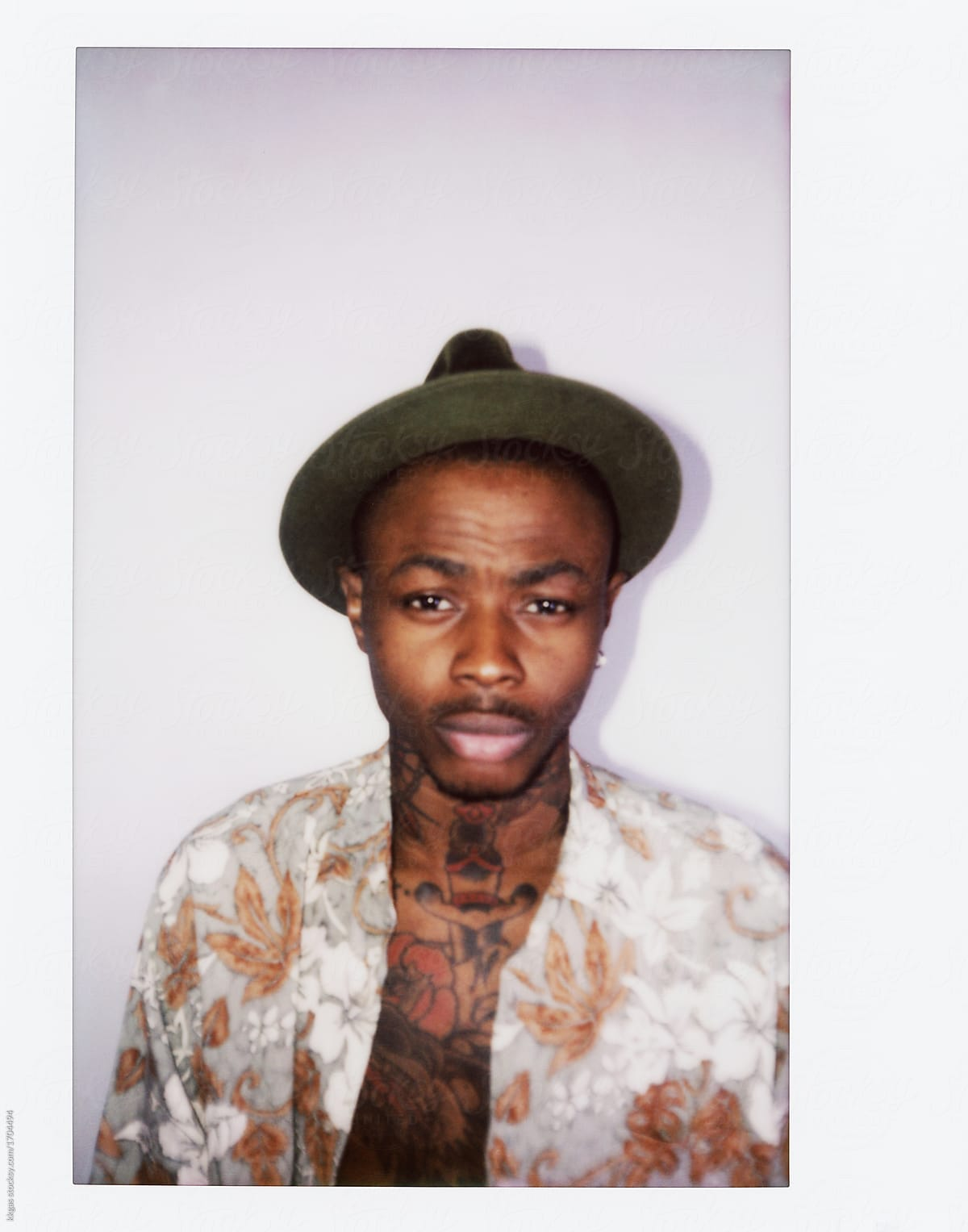Instant Print Of A Cool Tattooed Black Guy With Fedora Hat ... 98addde38b3