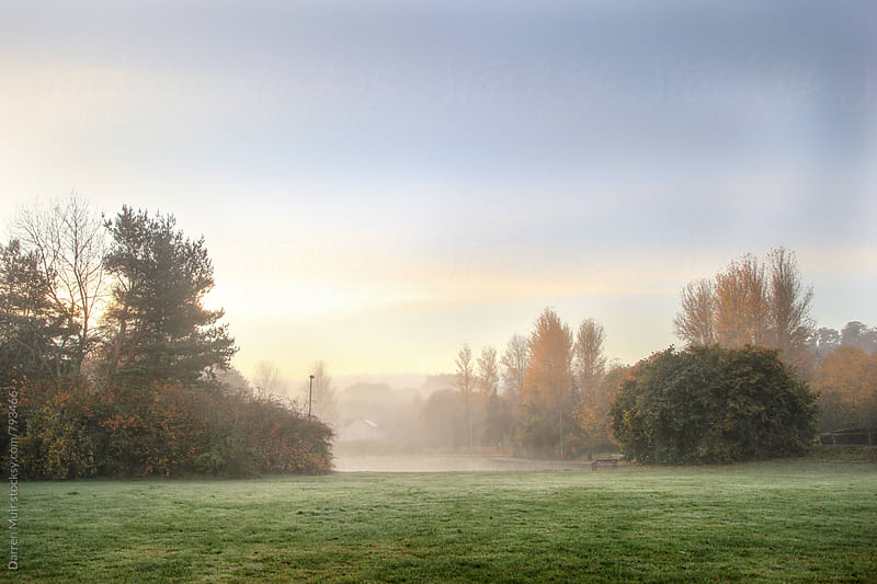 Misty autumn morning at the park. by Darren Muir for Stocksy United