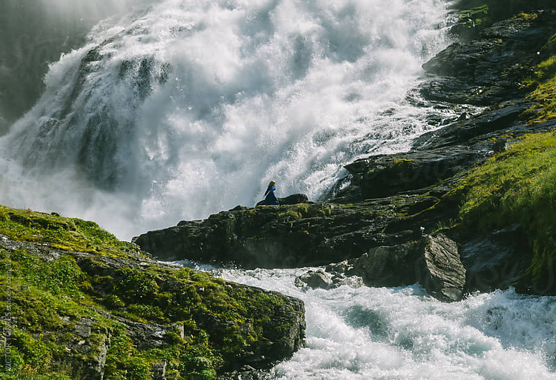 Kjosfossen Waterfall by VICTOR TORRES for Stocksy United