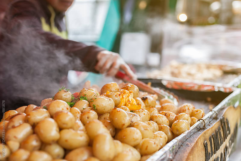 Baked Potatoes Stall in Borough Market, London by VICTOR TORRES for Stocksy United