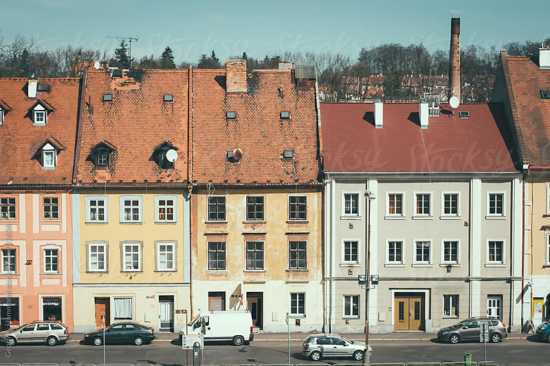 Row of Buildings in Cheb, Czech Republic by Geoffrey Hammond for Stocksy United