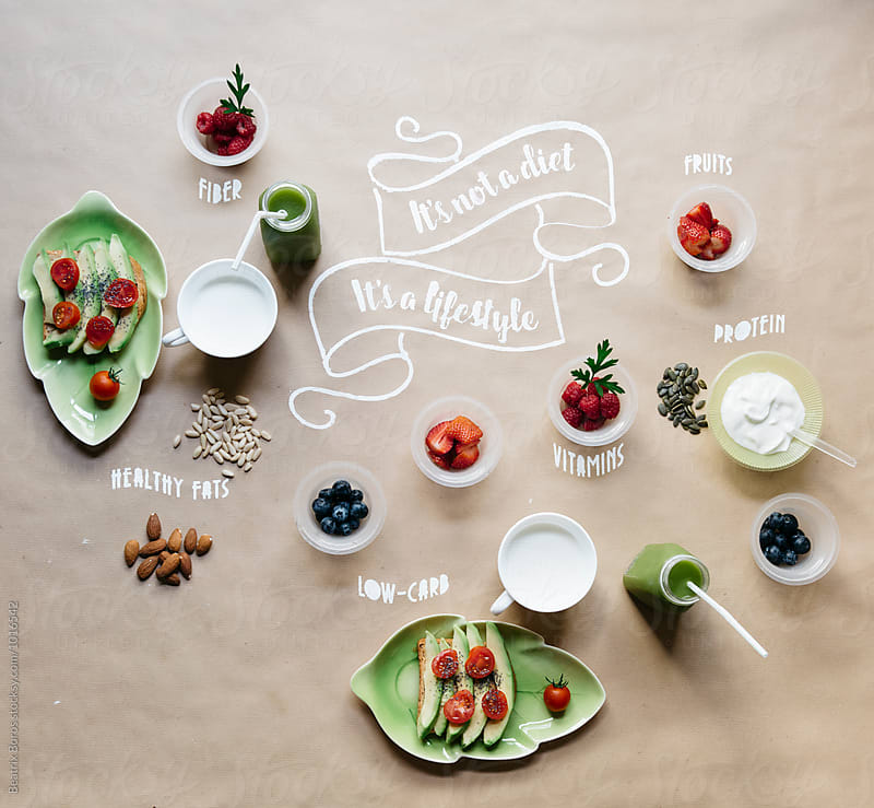 Healthy breakfast ready on the table with healthy message painted by Beatrix Boros for Stocksy United