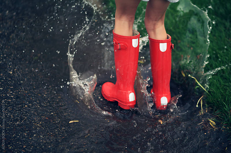 Red Boots In A Spring Rain by ALICIA BOCK for Stocksy United