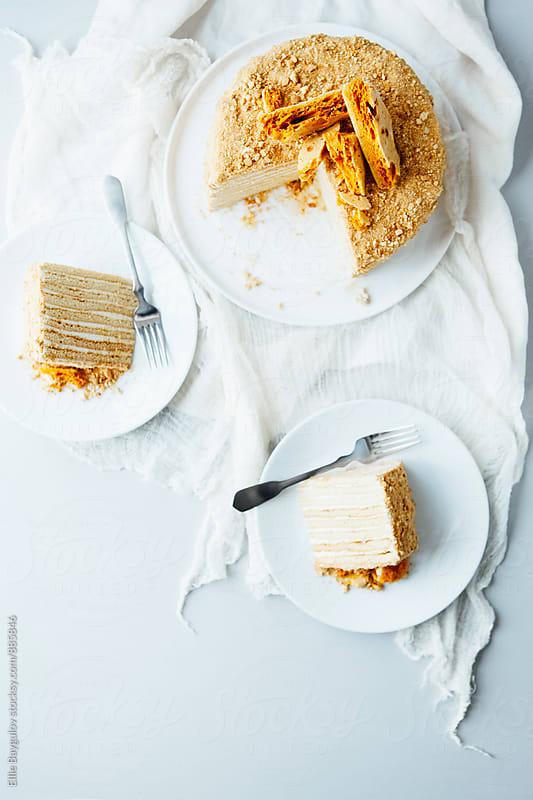 Honey layered cake by Ellie Baygulov for Stocksy United