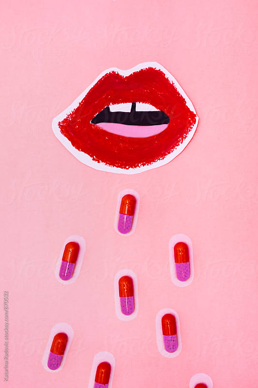 Red Pills Coming Out of The Mouth by Katarina Radovic for Stocksy United