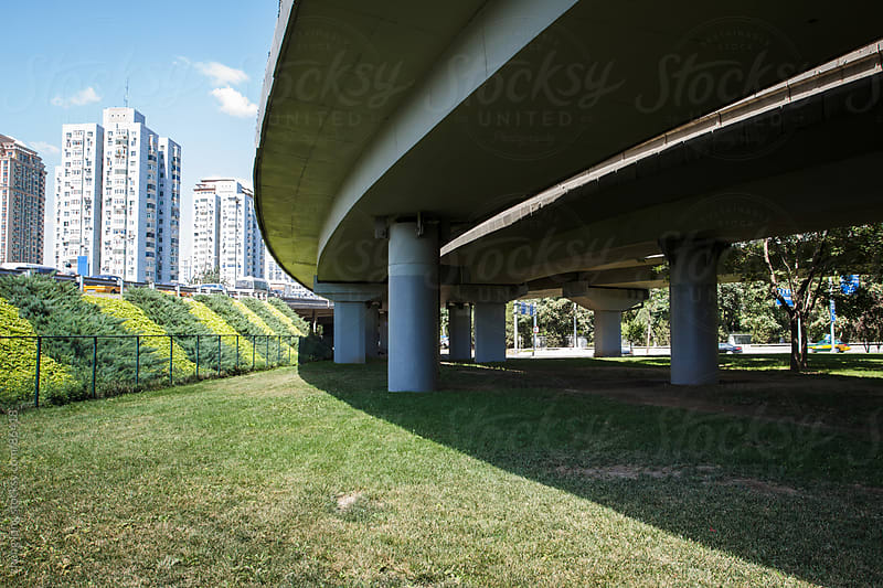 city  viaduct of  Beijing by zheng long for Stocksy United