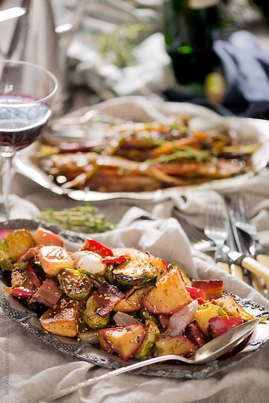 Roasted Brussel Sprouts with Bacon, Apple and Shallots by Jeff Wasserman for Stocksy United