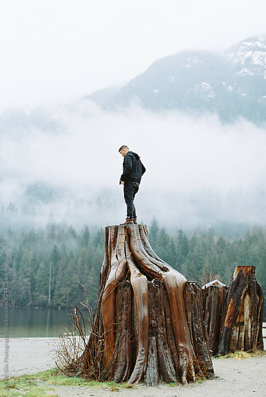 Young man standing on tree stump by Daniel Kim Photography for Stocksy United