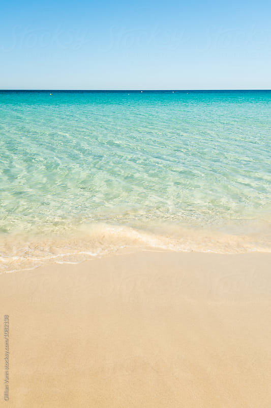 beautiful beach with golden sand and crystal clear aqua blue water by Gillian Vann for Stocksy United