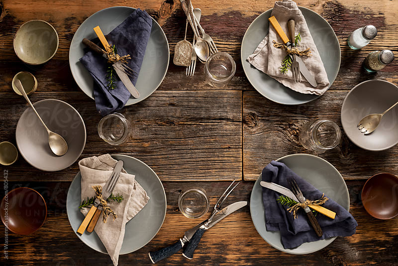 Rustic Dinner Party Table Setting From Above by Jeff Wasserman for Stocksy United