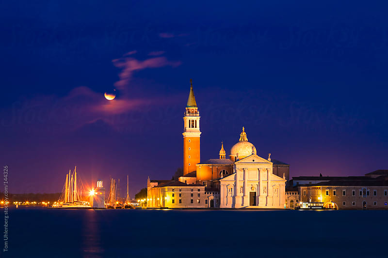 Moonrise over San Giorgio Maggiore Island, Venice, Italy by Tom Uhlenberg for Stocksy United