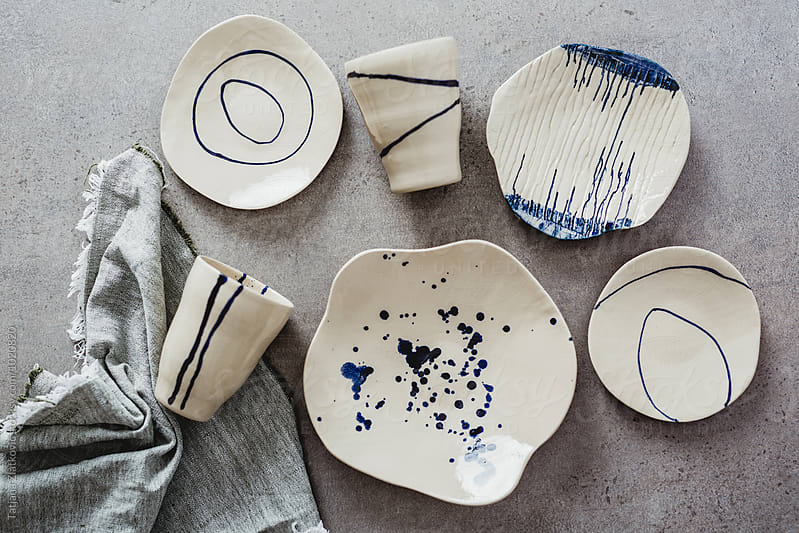 Artistic ceramic plates and mugs by Tatjana Ristanic for Stocksy United
