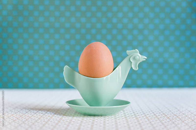 Vintage eggcup in form of chicken and egg by Vera Lair for Stocksy United