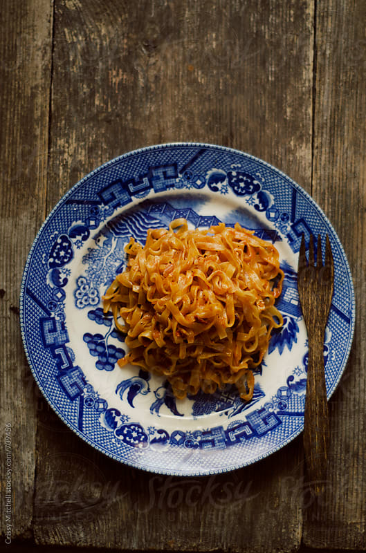 cooked instant noodles by Crissy Mitchell for Stocksy United