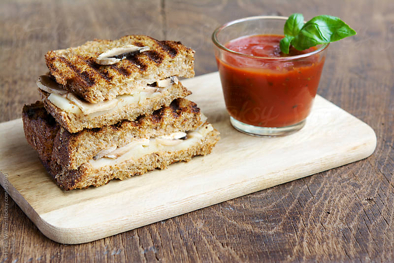 Grilled  Mushroom Vegan Cheese Sandwich by Harald Walker for Stocksy United