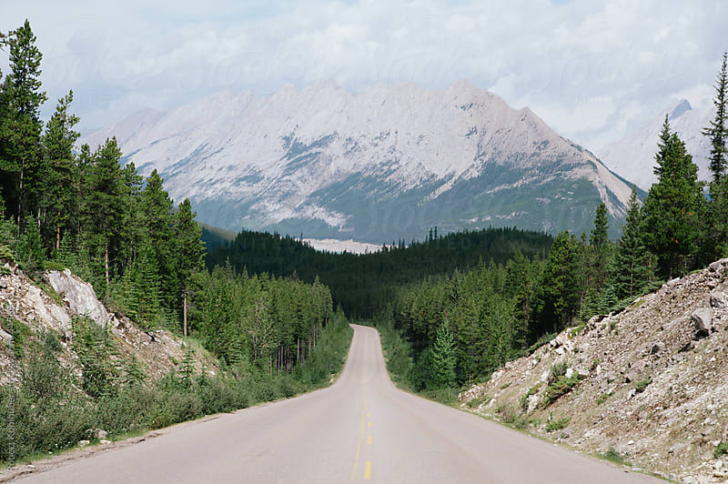 Icefields Parkway mountain street showing the Rocky Mountains in Banff and Jasper National park, Alberta, Canada by Robert Kohlhuber for Stocksy United