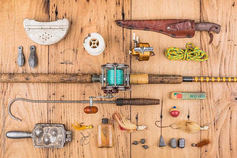 Antique Fishing Pole and Tackle by suzanne clements for Stocksy United