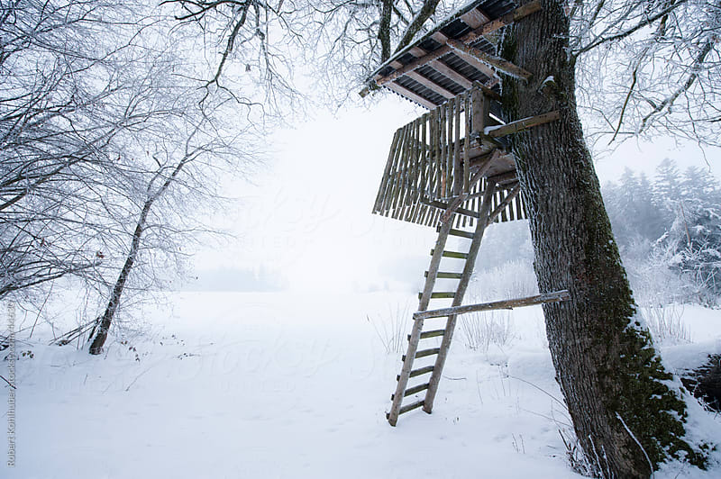 Lookout tower in winter landscape by Robert Kohlhuber for Stocksy United