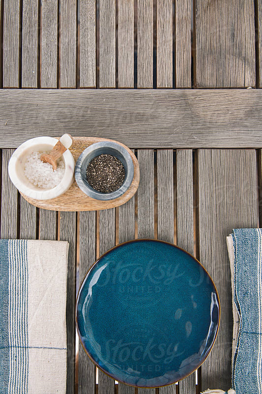 Salad and table setting outdoors. by RZ CREATIVE for Stocksy United