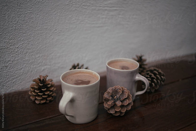 Hot chocolate and pine cones by Kitty Kleyn for Stocksy United