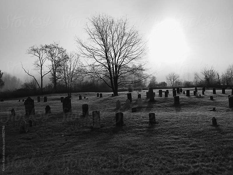 Black and White Cemetery in New England by Kevin Russ for Stocksy United