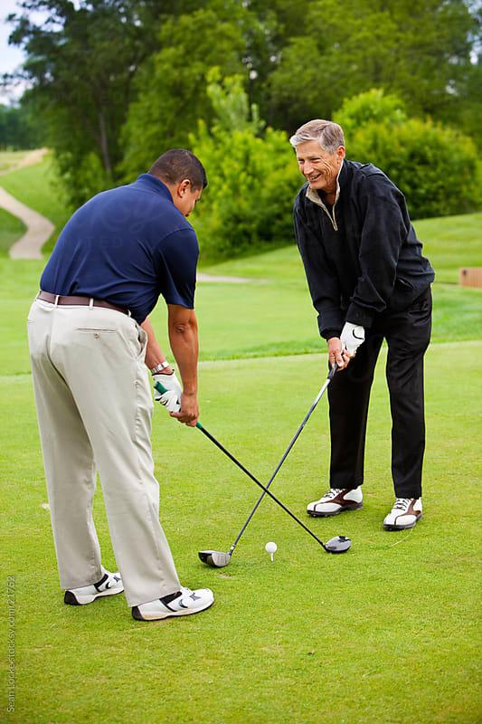 Golf: Senior Male Taking Golf Lesson by Sean Locke for Stocksy United
