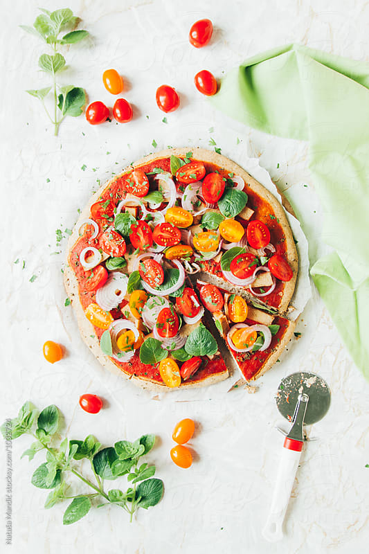 Veggie pizza by Nataša Mandić for Stocksy United