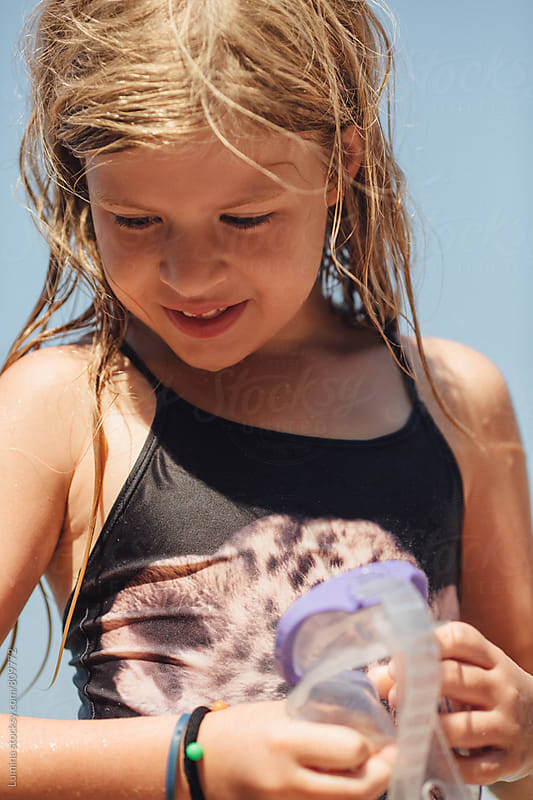 Portrait of Little Girl in Swimwear by Lumina for Stocksy United