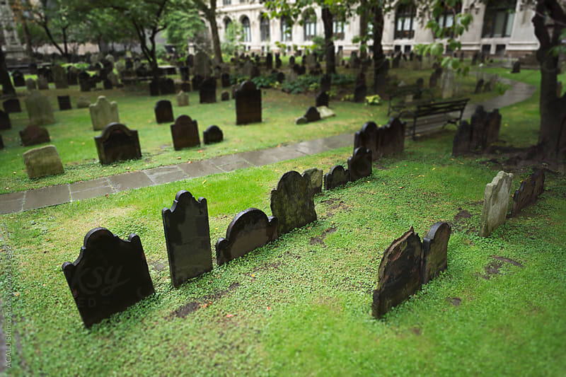 Cemetery with tombstones in Trinity Church by ACALU Studio for Stocksy United