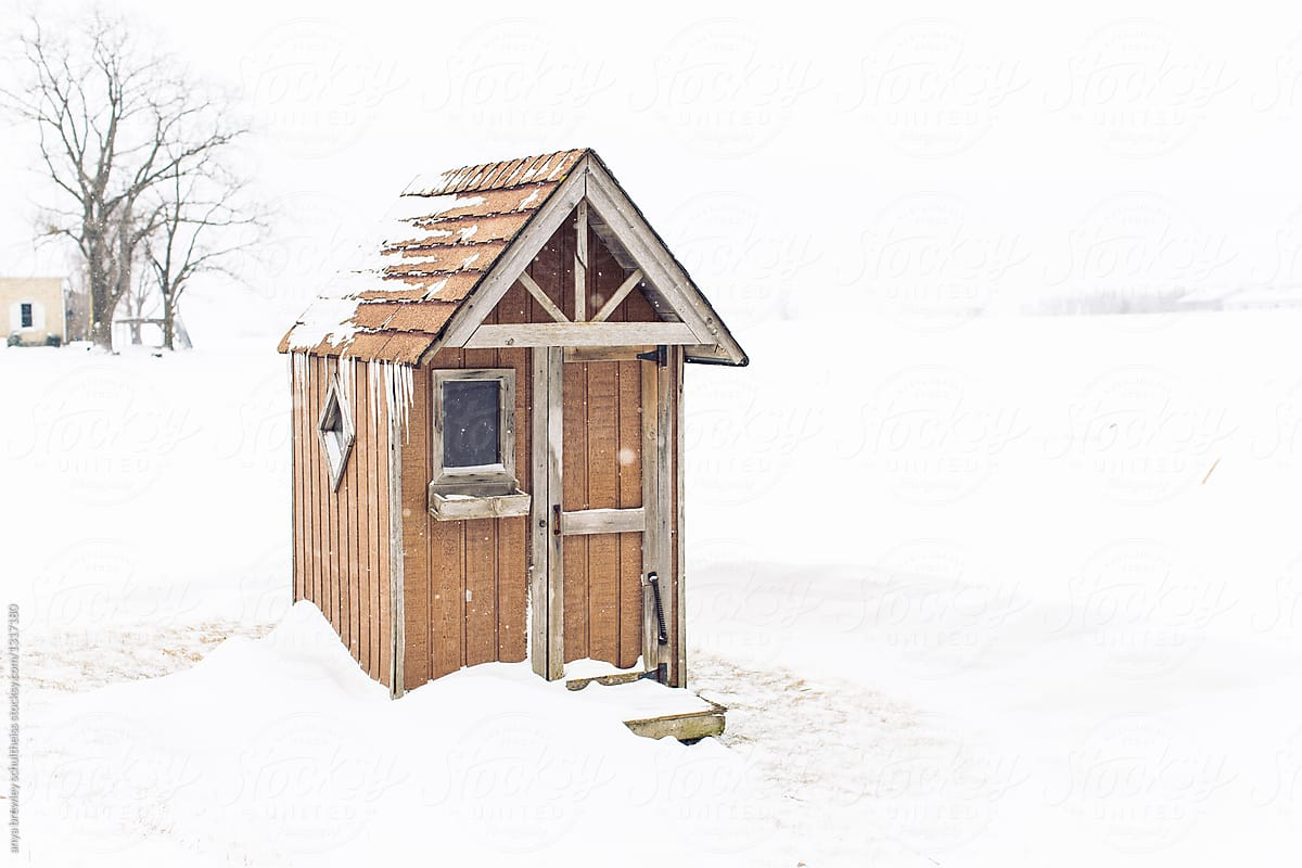 42ce2c4ecdbbb Wooden outdoor shed used a a warm house for kids waiting for the bus by  anya brewley