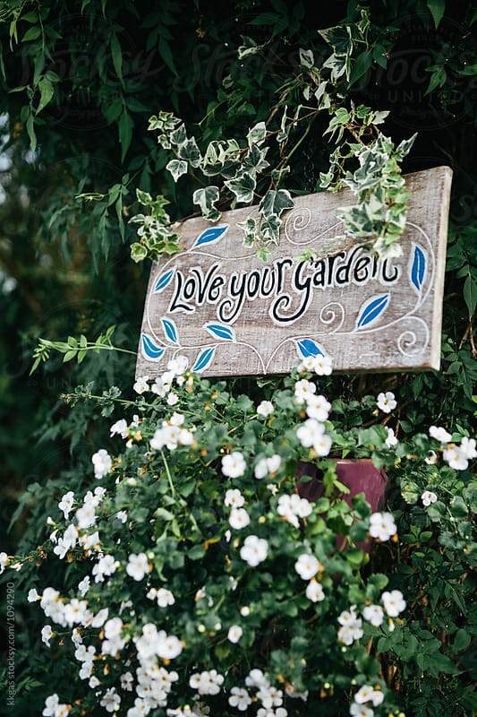 Love your garden sign hanging above flowers in a garden by kkgas for Stocksy United
