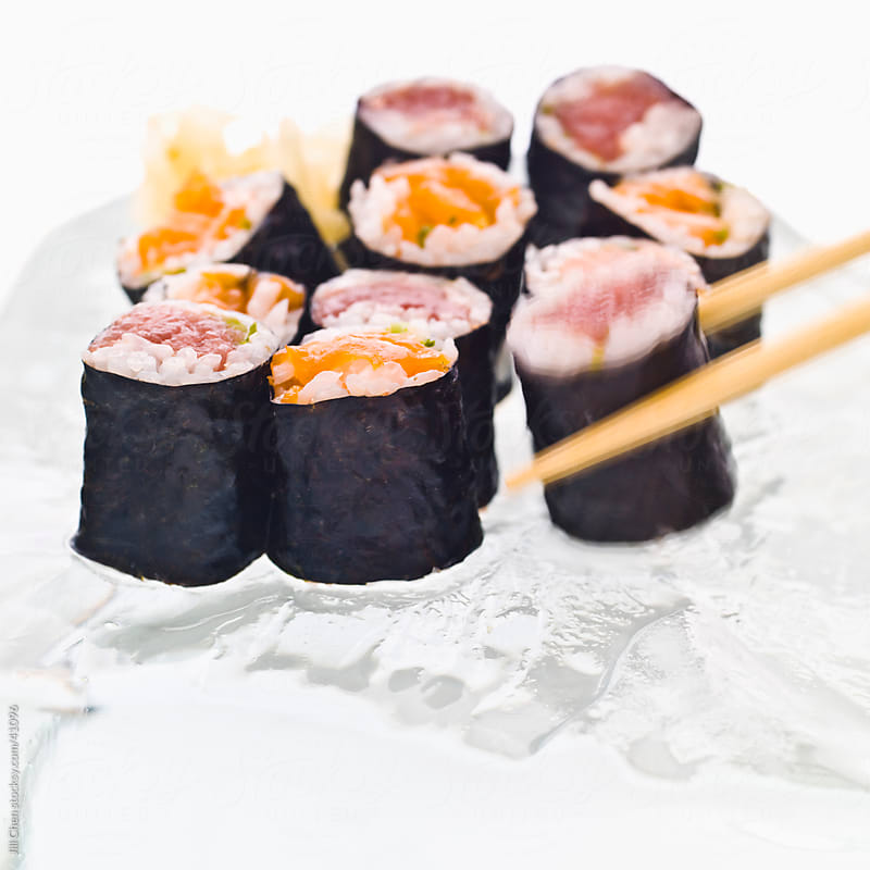 Assorted Sushi On Ice by Jill Chen for Stocksy United