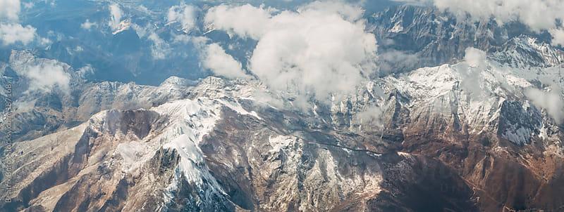 Bird's eye view of  a European mountain chain by Beatrix Boros for Stocksy United