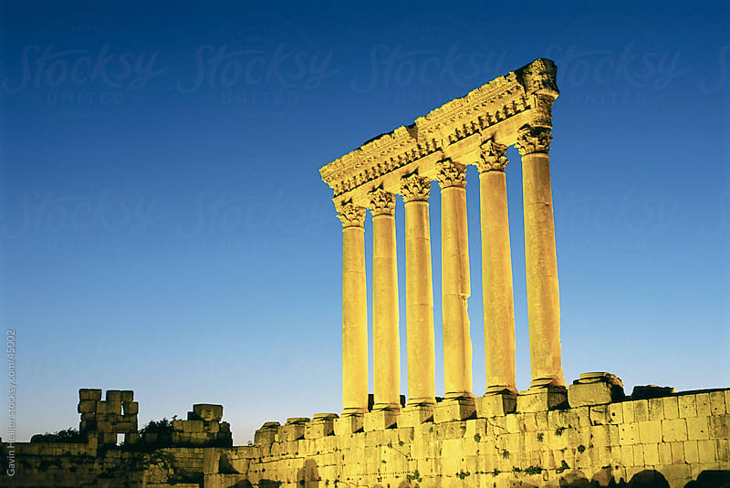 Lebanon, Bekaa Valley, Baalbek, Roman Temple of Jupiter, dusk by Gavin Hellier for Stocksy United