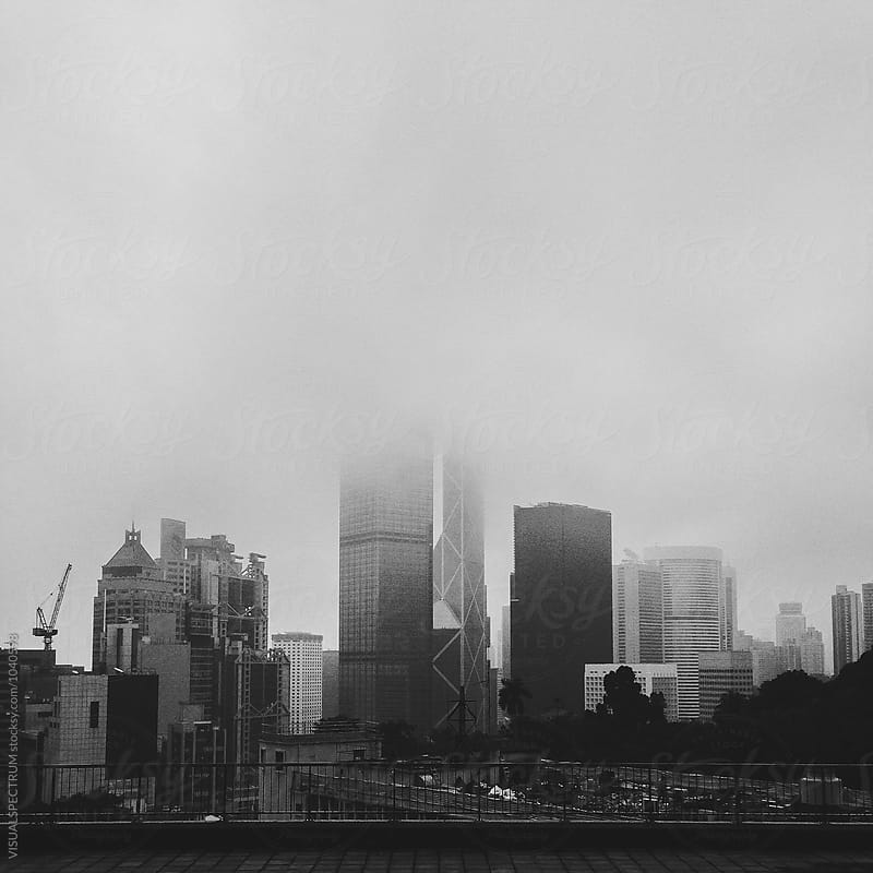Foggy Hong Kong Cityscape in Black and White by VISUALSPECTRUM for Stocksy United