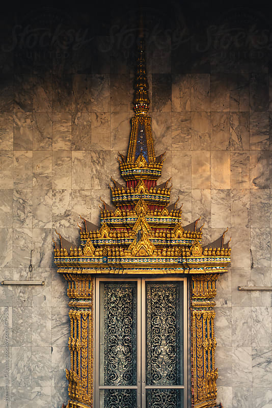 Golden Decorated Thai Window on a Buddhist Temple by Nemanja Glumac for Stocksy United