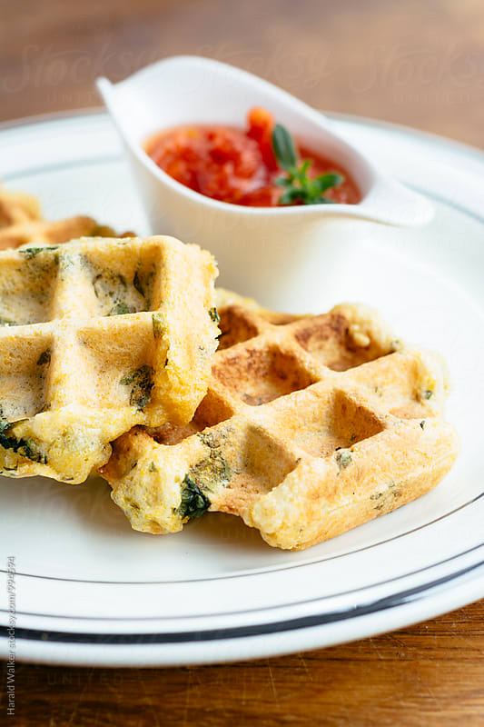 Polenta Spinach Waffles with Tomato Salsa by Harald Walker for Stocksy United