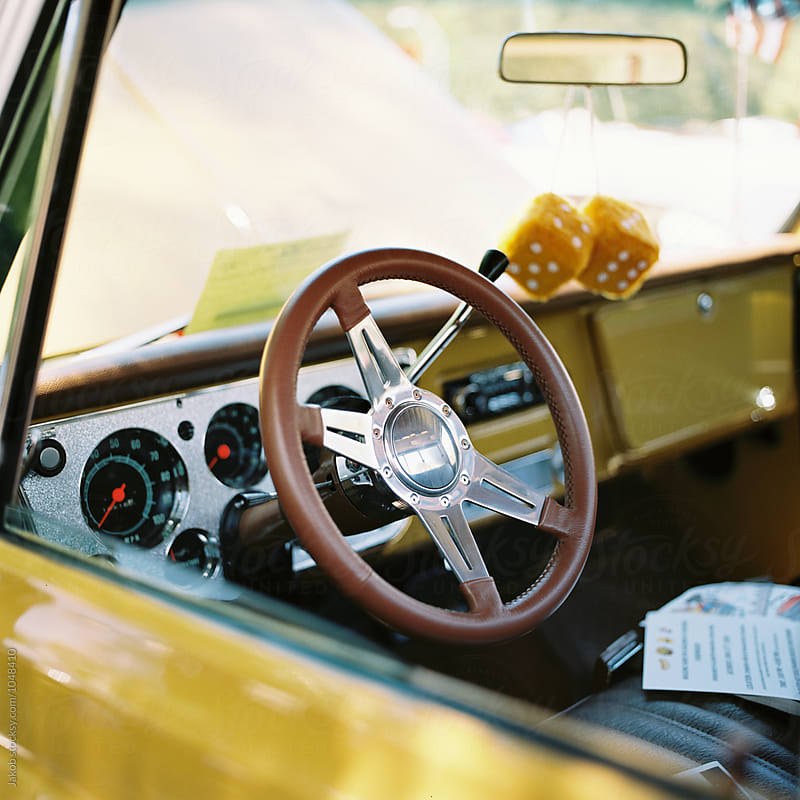 View of the inside of an american classic car by Jakob for Stocksy United