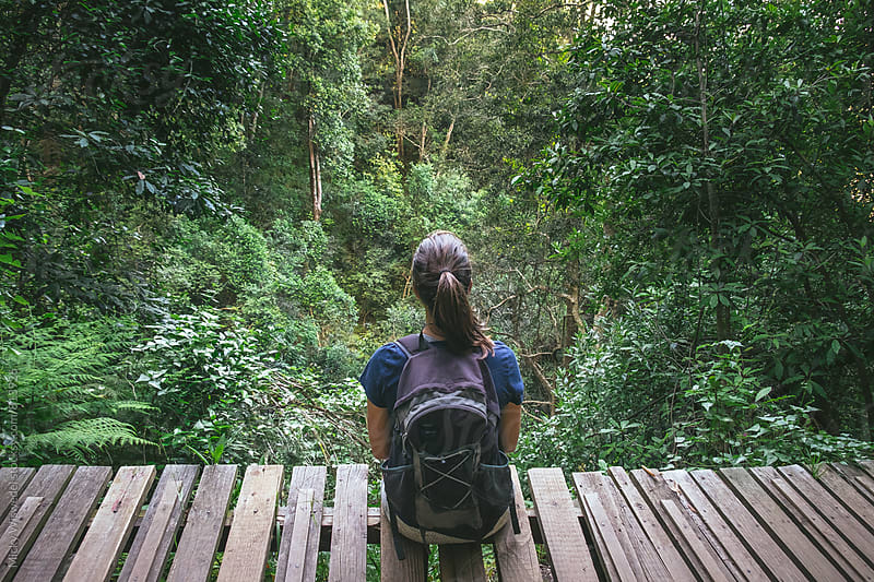 female hiker sitting and resting on an elevated boardwalk in a forest by Micky Wiswedel for Stocksy United