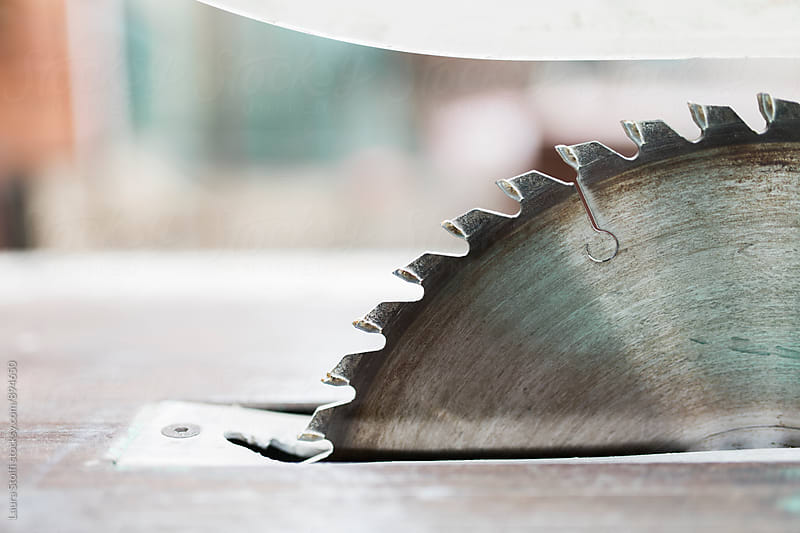 Close up of Circular saw's blade by Laura Stolfi for Stocksy United