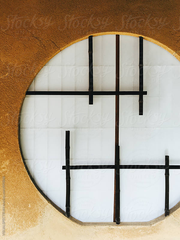Japanese Aesthetics - Round Paper Window Detail With Bamboo by VISUALSPECTRUM for Stocksy United