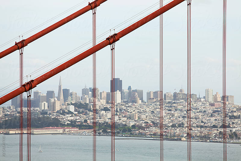 View of downtown San Francisco through the Golden Gate bridge. by RZ CREATIVE for Stocksy United