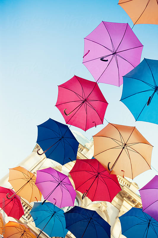 umbrellas over the city by B & J for Stocksy United
