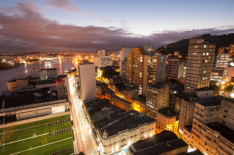 Cityscape - Vitória, Brazil - Nightlights and Trails on the Sunset by Yuri Barichivich for Stocksy United