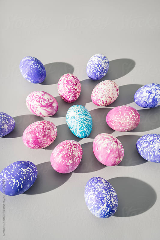 Hand-Painted Abstract Speckled Easter Eggs by suzanne clements for Stocksy United