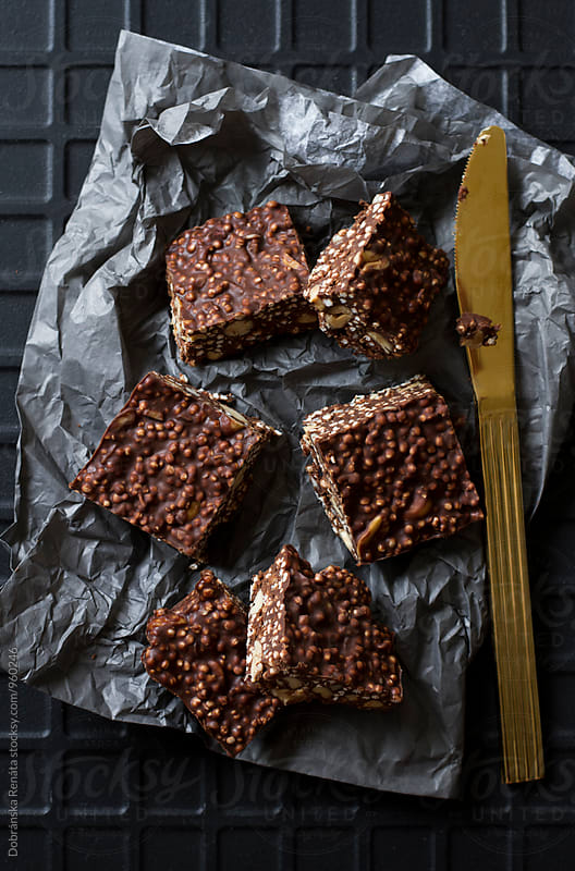 Chocolate Bars with puffed Quinoa and peanuts by Dobránska Renáta for Stocksy United
