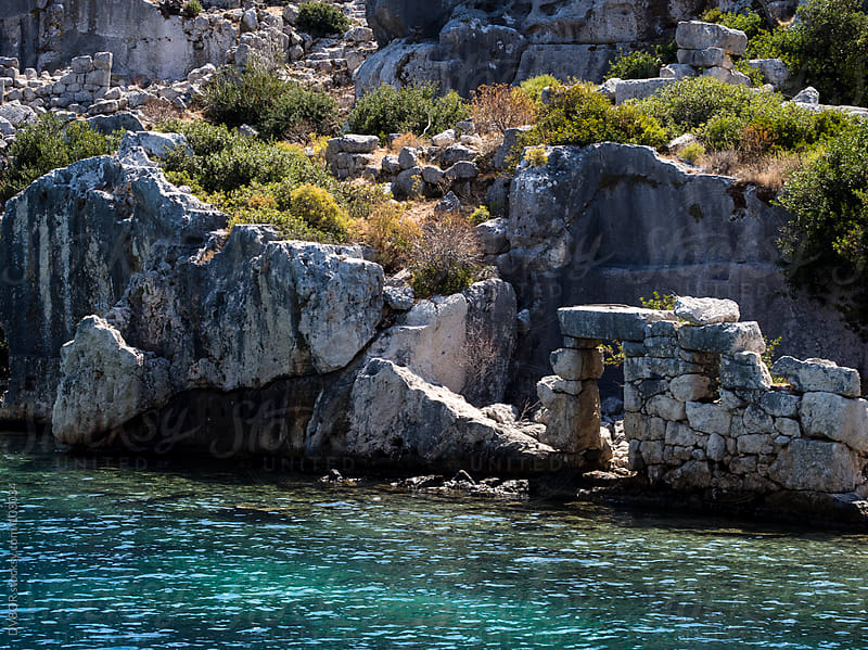 Underwater and above ground ruins at Simena, Turkey by DV8OR for Stocksy United