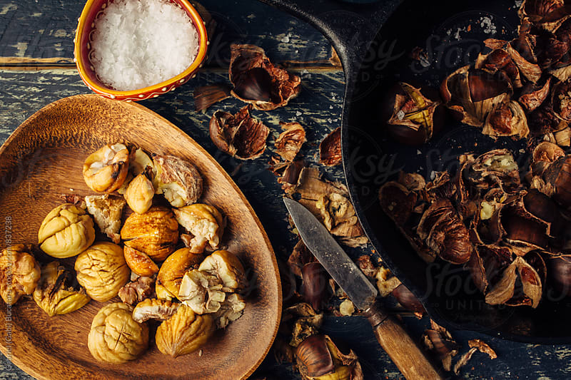 Roasted chestnuts from above by Gabriel (Gabi) Bucataru for Stocksy United