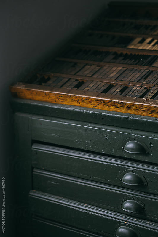 Chest of Drawers with Lead Types in an Old Printing House by VICTOR TORRES for Stocksy United
