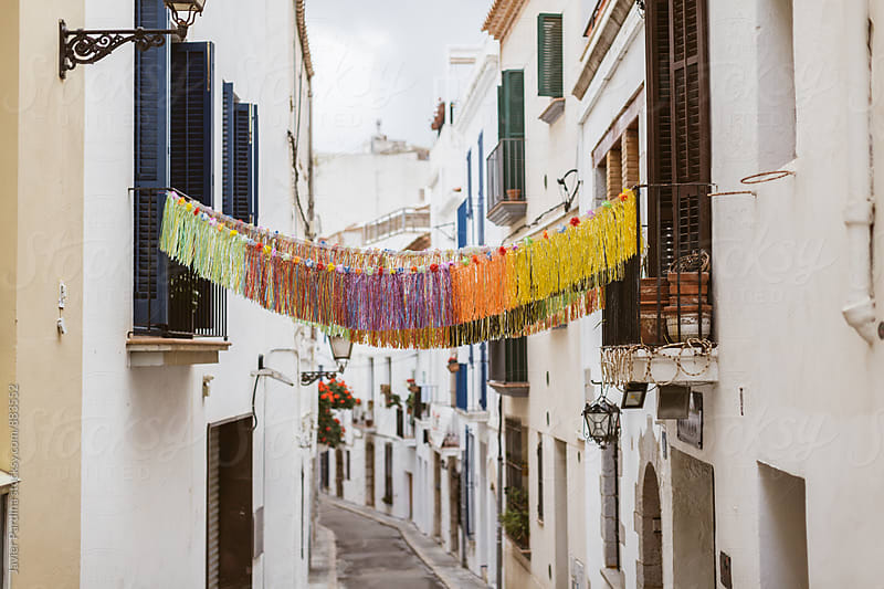 old street of sitges city  by Javier Pardina for Stocksy United